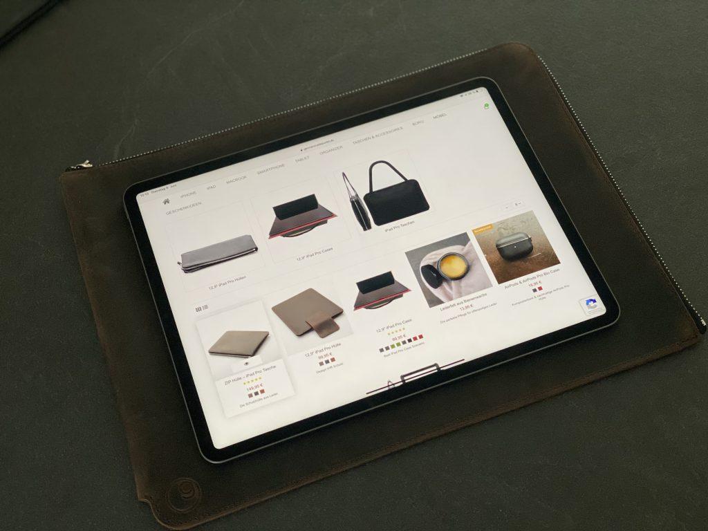 germanmade. Lederfülle mit Reissverschluss für das iPad Pro 12,9 Zoll